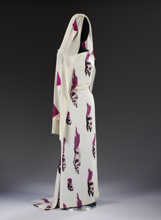 Tears Dress designed in collaboration with Salvador Dalí. Part of her 1938 Circus Collection.
