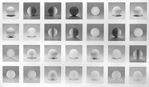 A sphere lit from the top, four sides, and all their combinations. Sol Lewitt. 2004.