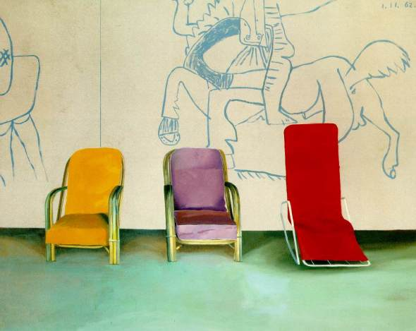 Three Chairs with a Section of a Picasso Mural. David Hockney. 1970.