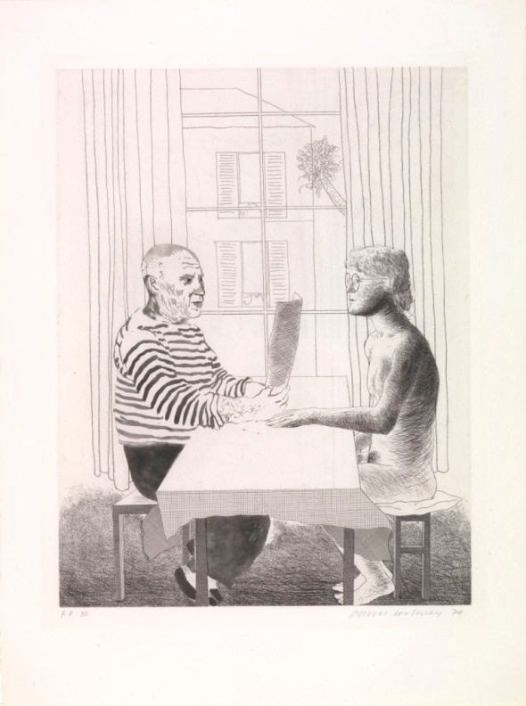 Artist and Model. David Hockney. 1973-4. Etching.
