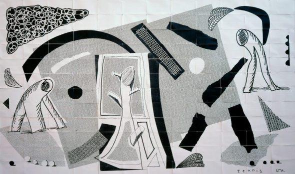 Tennis. David Hockney. 1989. fax paper on A4