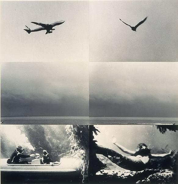 Concerning diachronic/synchronic time: above, on, under (with mermaid). John Baldessari. 1976