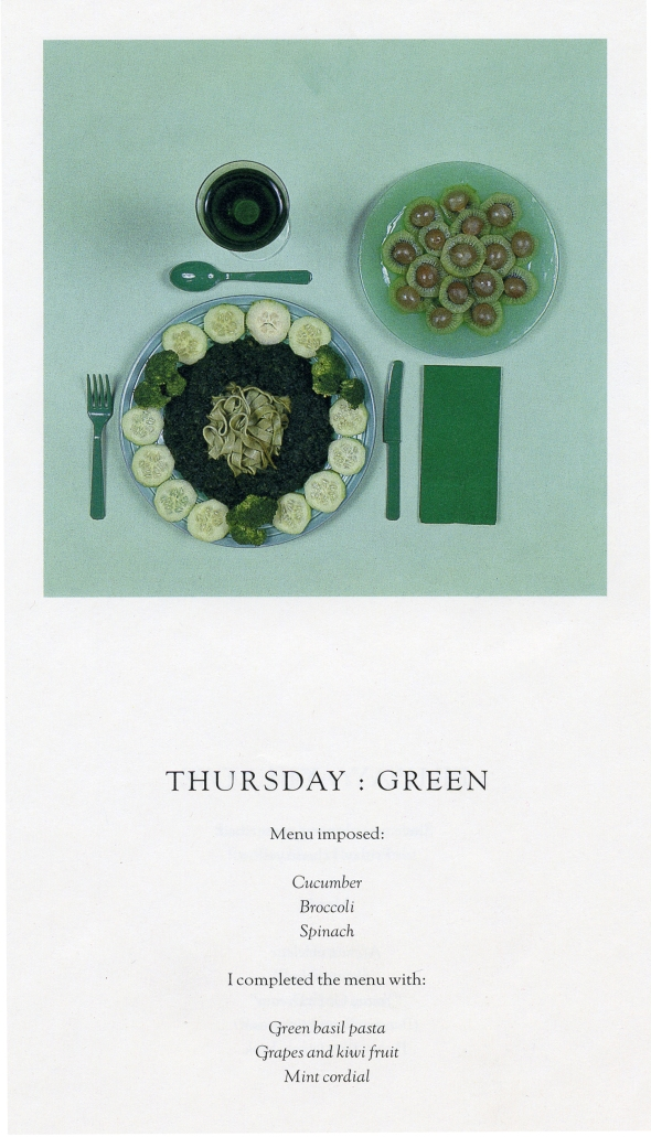 Chromatic Diet, Thursday. Sophie Calle. 1997.