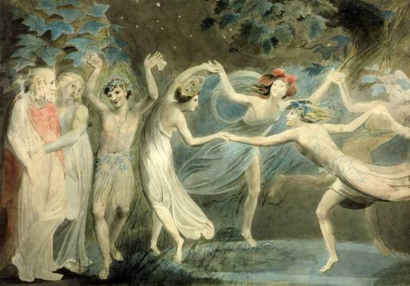 Oberon, Titania and Puck with Fairies Dancing. William Blake. circa 1786