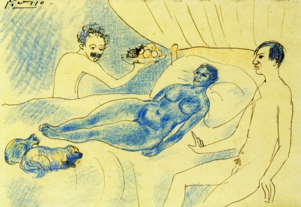 A Parody of Manet's Olympia with Junyer and Picasso. By Pablo Picasso. 1902.