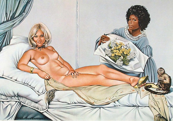 Mel Ramos, Manet's Olympia, 1974. Lithograph.