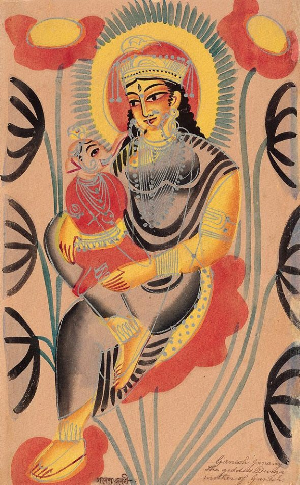 The goddess Durga, mother of Ganesh from the Kalighat School
