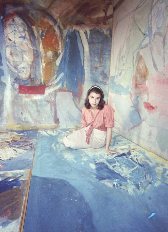 Helen Frankenthaler sitting amidst her art in her New York City studio. Photographed by Gordon Parks for LIFE magazine ca. 1956