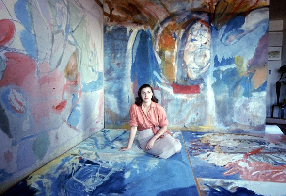 for G - 28frankenthaler - UNSPECIFIED - CIRCA 1956: Painter Helen Frankenthaler sitting amidst her art. (Gordon Parks/Time & Life Pictures/Getty Images)