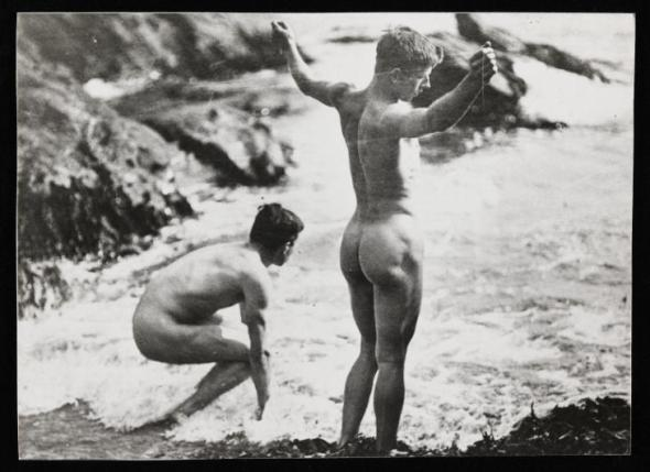 Photograph showing unidentified male nudes on the beach Photographer Unknown null An initial donation of the papers of Tuke and Gotch was made to the Tate Archive by Mr Brian D. Price in 1990. Additional donations of related material were made in 1991, 1994 and 2002. http://www.tate.org.uk/art/archive/TGA-9019-1-4-5-9-1